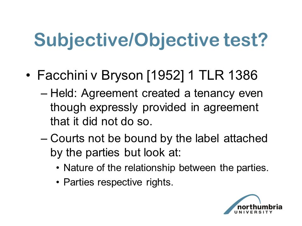 Subjective/Objective test