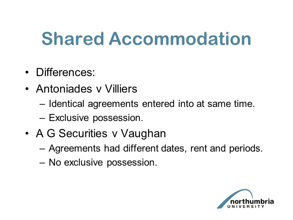 Shared Accommodation Differences: Antoniades v Villiers