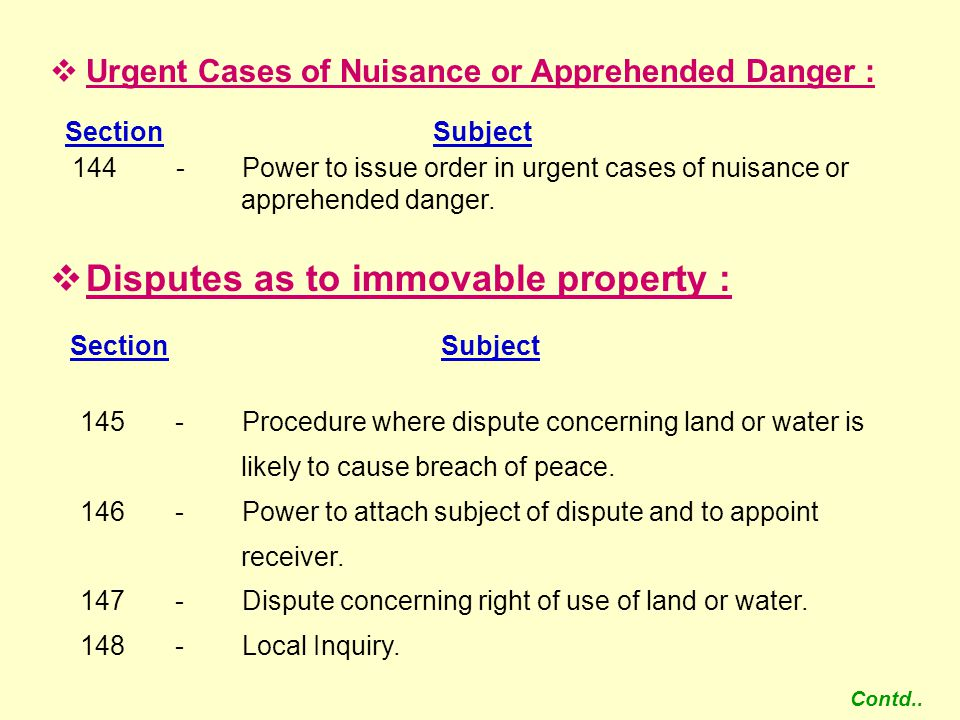 Disputes as to immovable property :