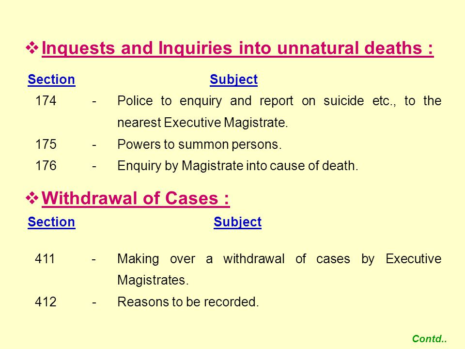 Inquests and Inquiries into unnatural deaths :