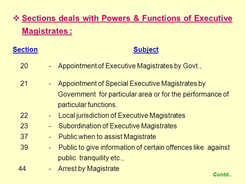 Sections deals with Powers & Functions of Executive Magistrates :
