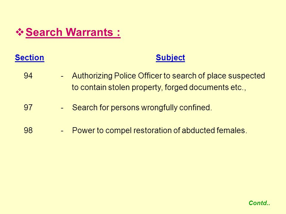 Search Warrants : Section Subject