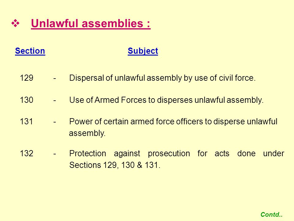 Unlawful assemblies : Section Subject