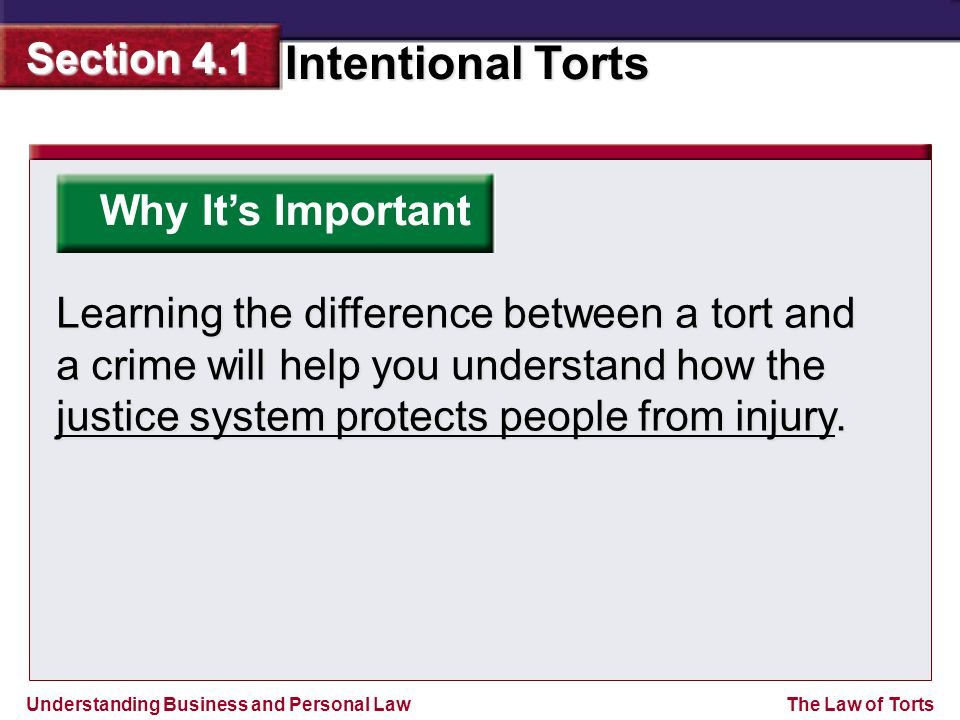 Why It's Important Learning the difference between a tort and a crime will help you understand how the justice system protects people from injury.