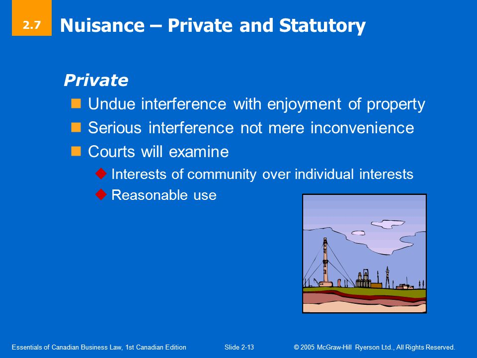Nuisance (Cont'd) Private Nuisance