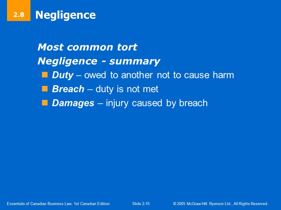 Negligence Duty Standard of care owed not to injure another