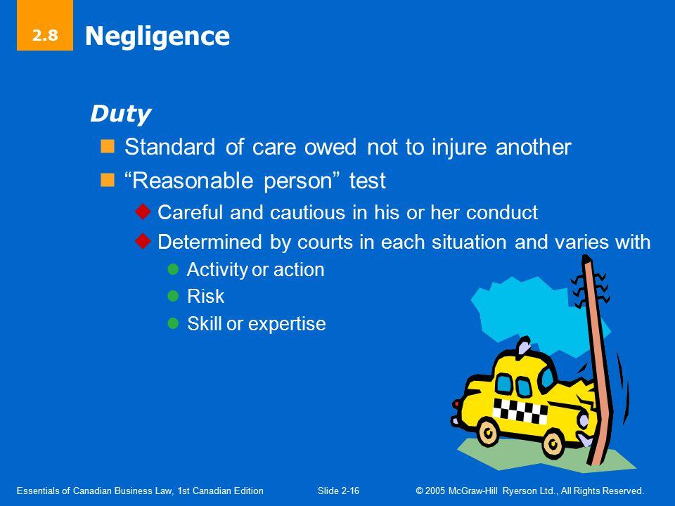 Negligence – Breach of Duty