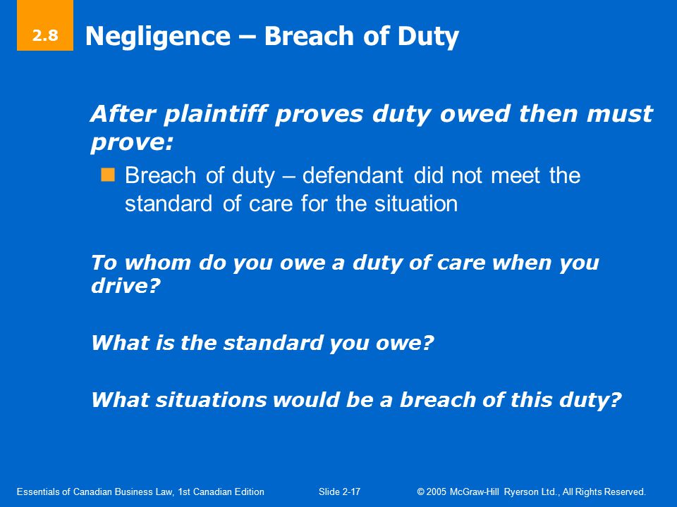 Negligence – Damages Causation