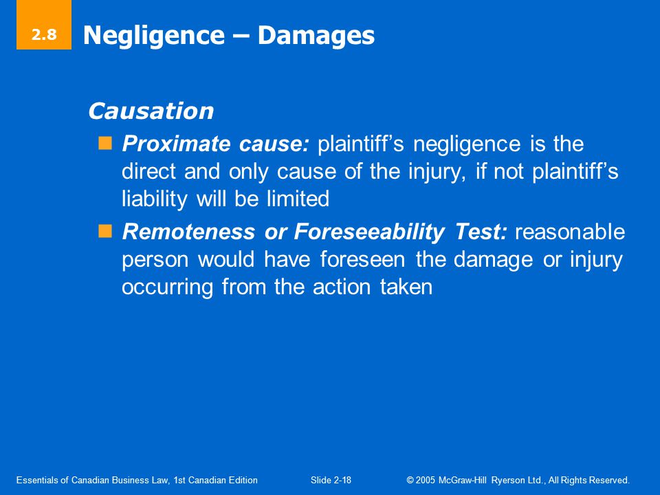 Negligence (Cont'd) Contributory Negligence