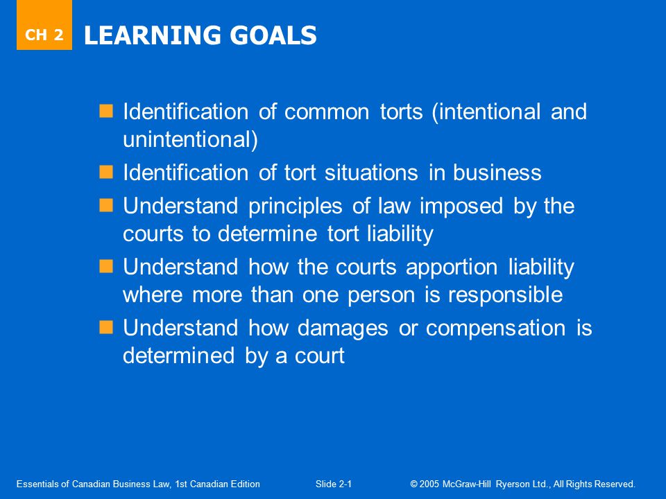 2.1 Tort Law. Tort: acts or omissions recognized by law as civil wrongs causing injury to others or their property.