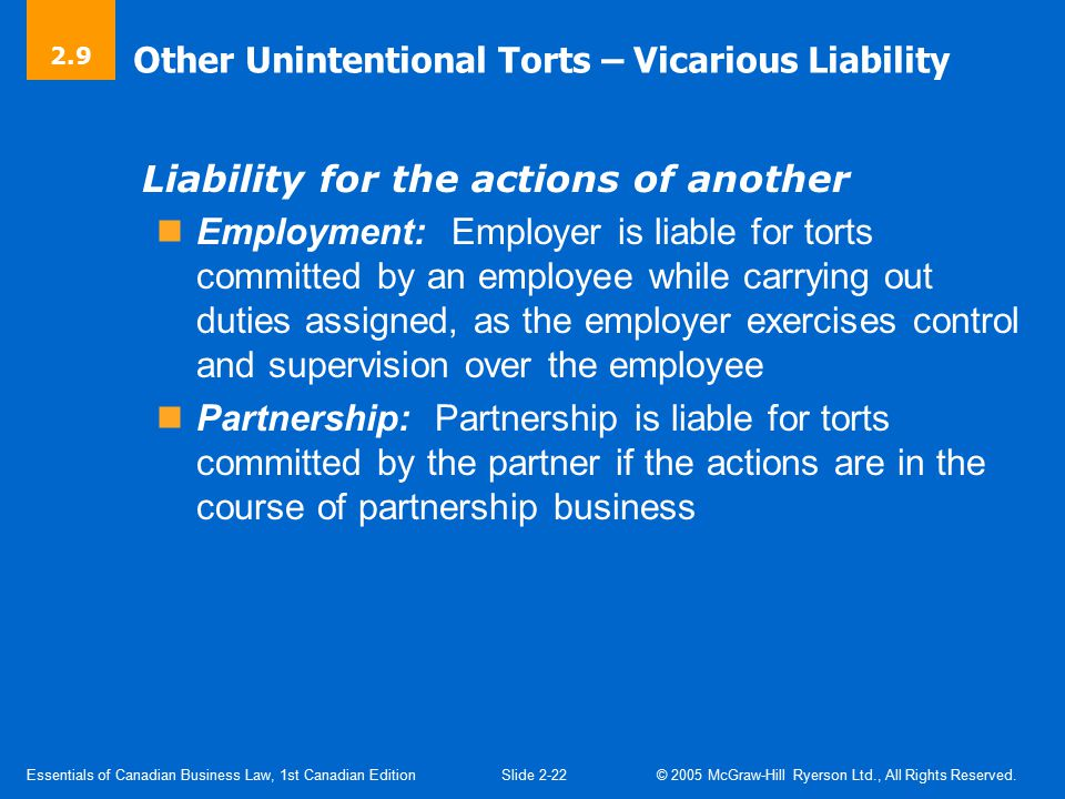 Other Unintentional Torts – Strict Liability
