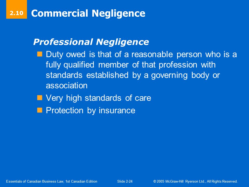 Commercial Negligence (Cont'd)