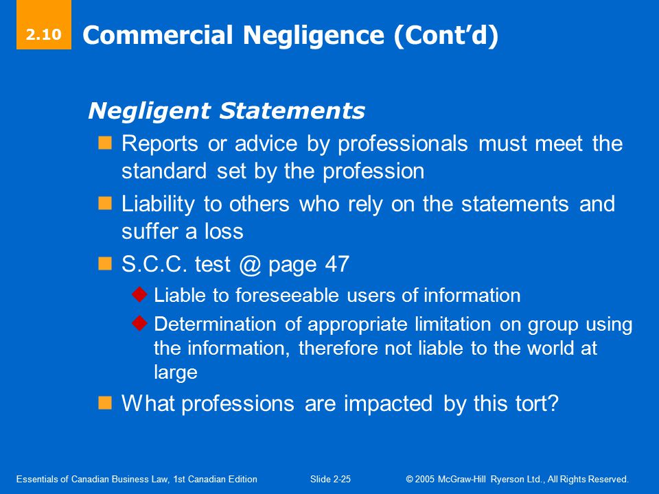 Commercial Negligence (Cont'd