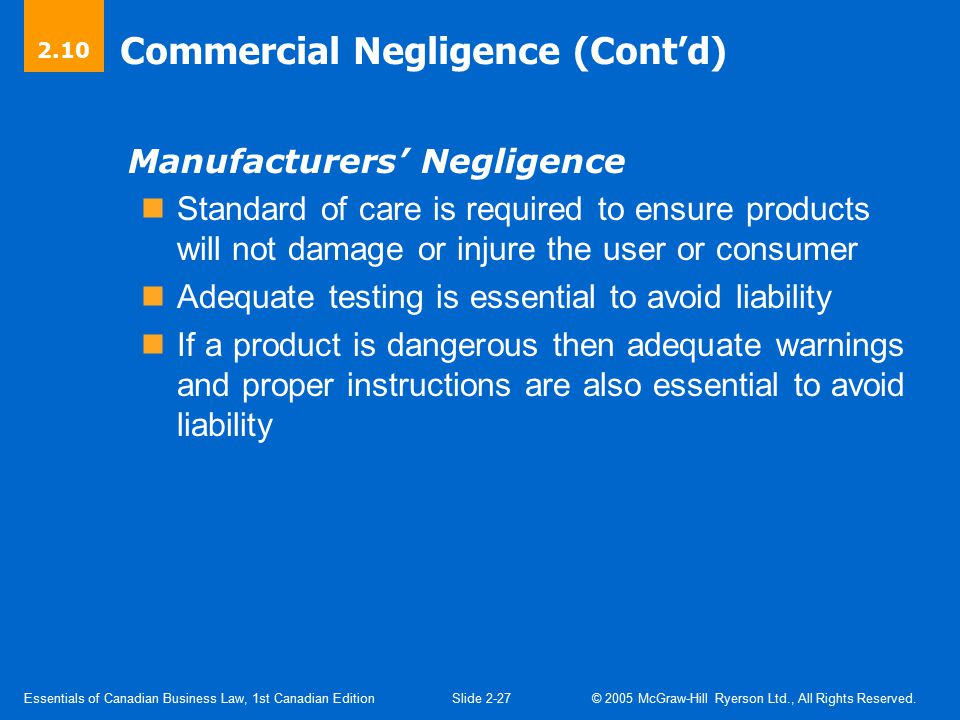 Defences to Claims of Negligence