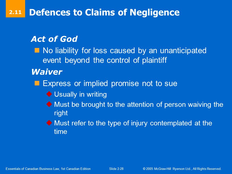Defences to Claims of Negligence (Cont'd)