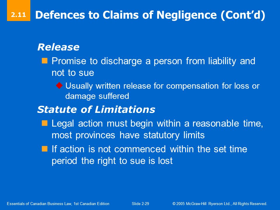 Defences to Negligence