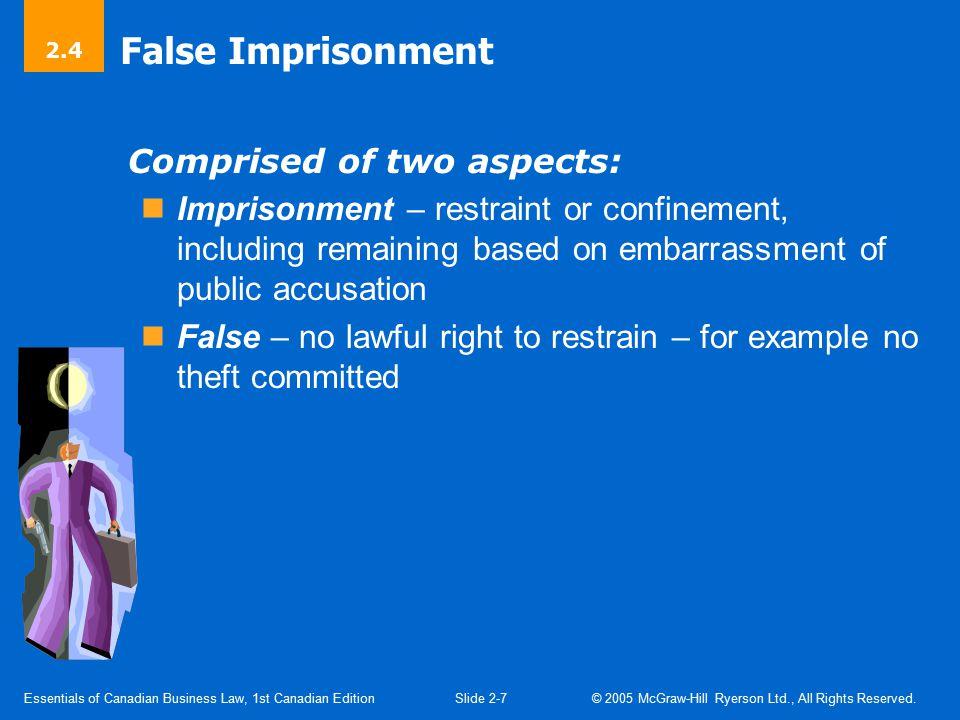 False Imprisonment (Cont'd)