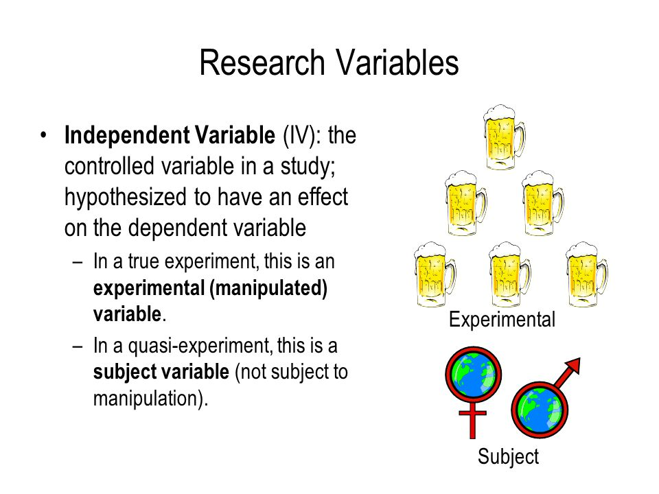 Research Variables Independent Variable (IV): the controlled variable in a study; hypothesized to have an effect on the dependent variable.