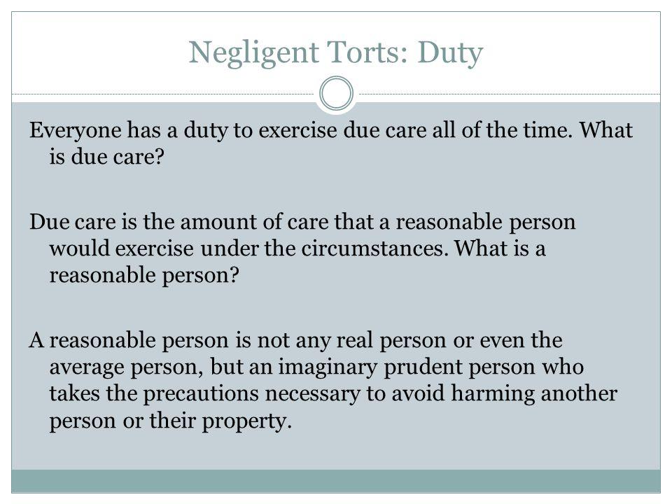 Negligent Torts: Duty