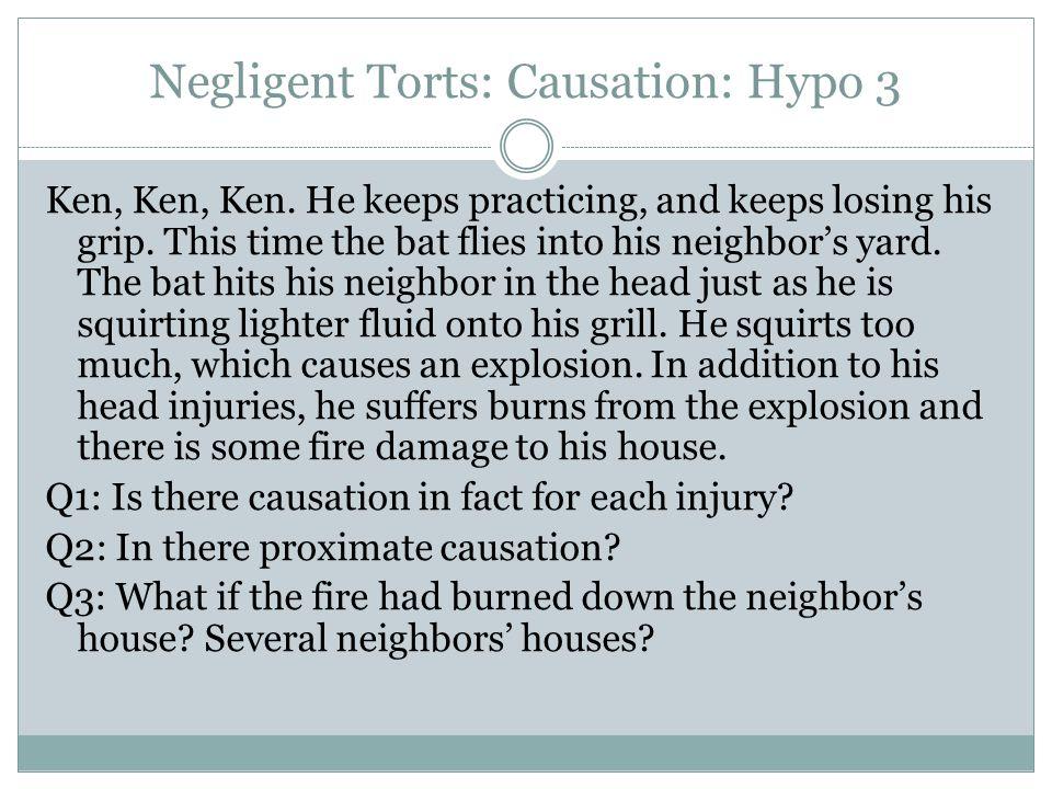 Negligent Torts: Causation: Hypo 3