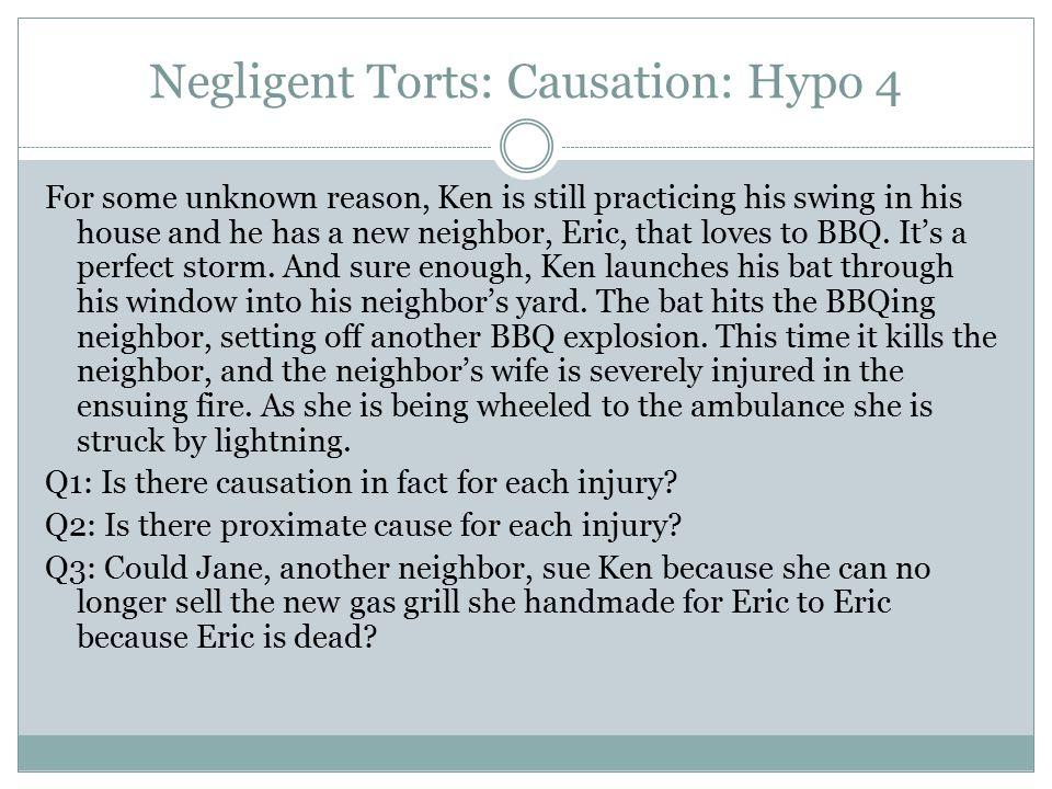 Negligent Torts: Causation: Hypo 4