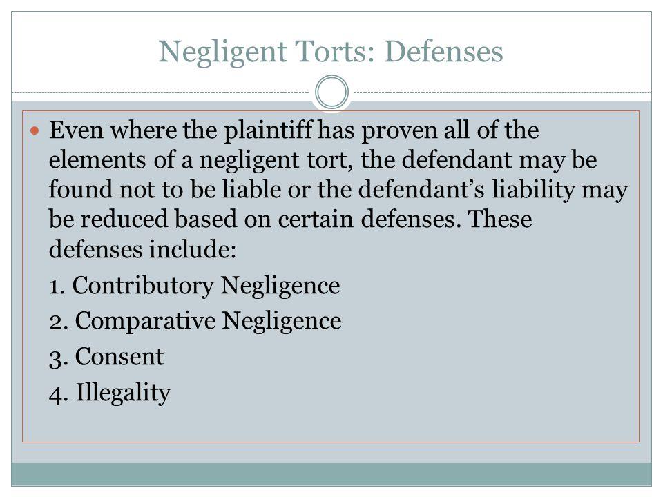 Negligent Torts: Defenses