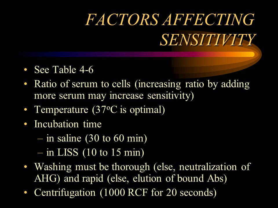 FACTORS AFFECTING SENSITIVITY