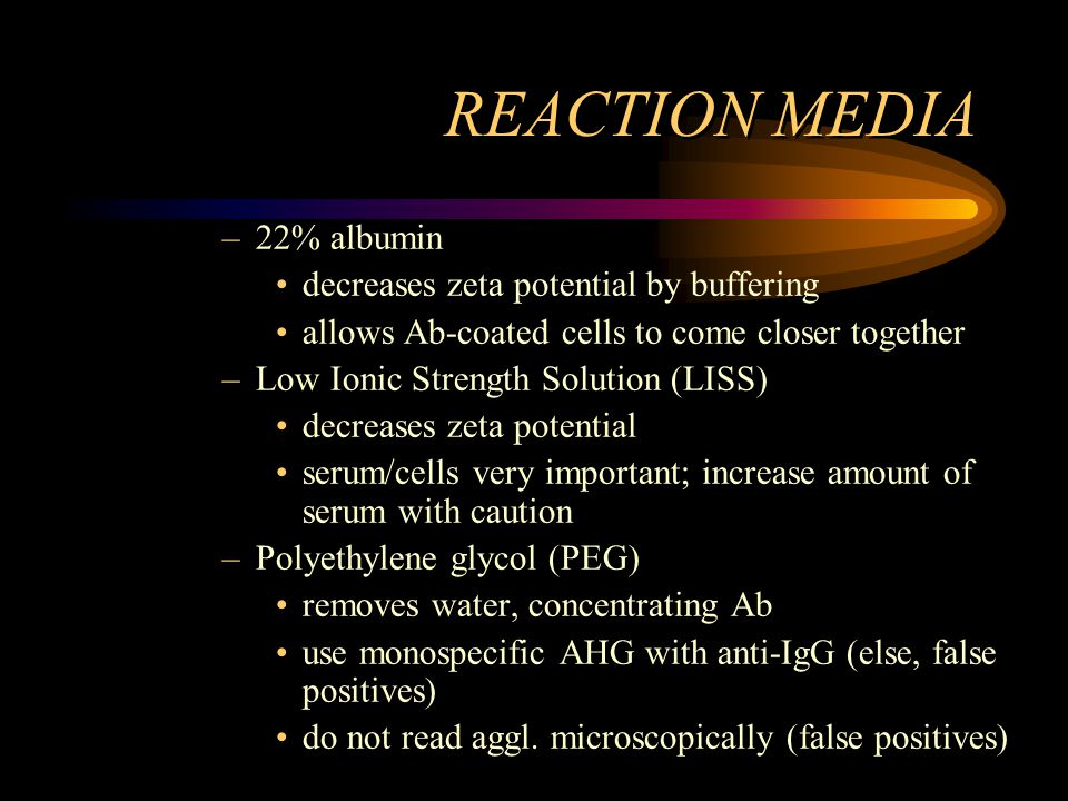 REACTION MEDIA 22% albumin decreases zeta potential by buffering