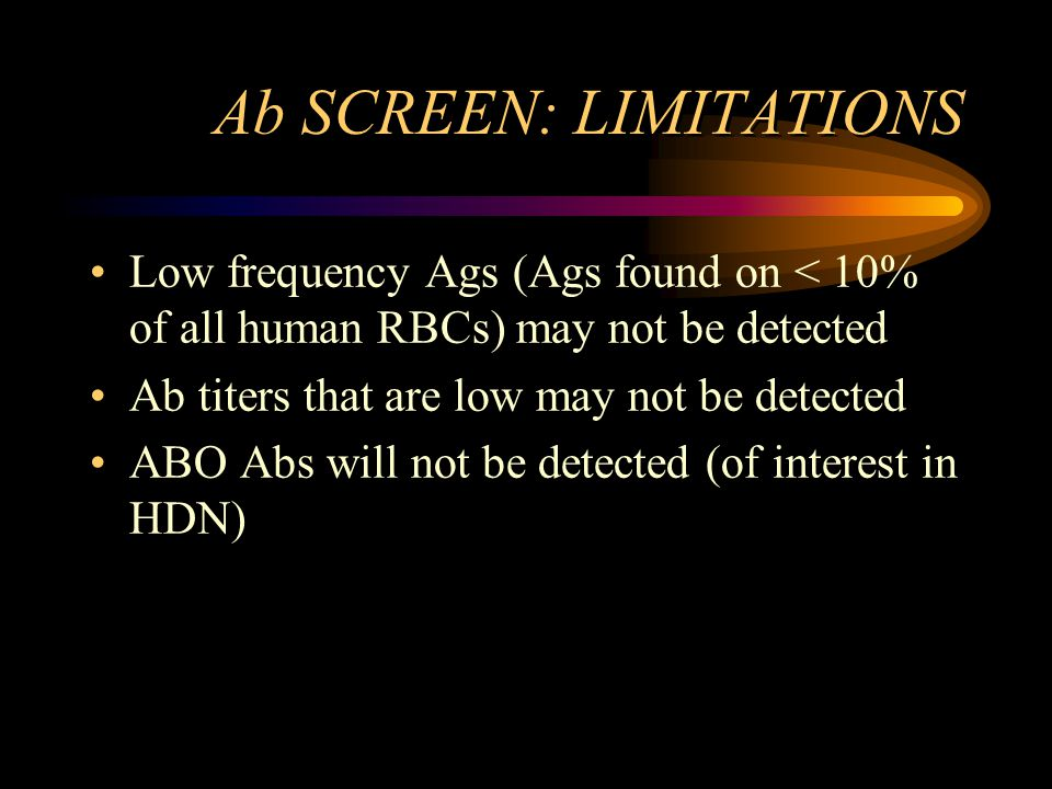 Ab SCREEN: LIMITATIONS