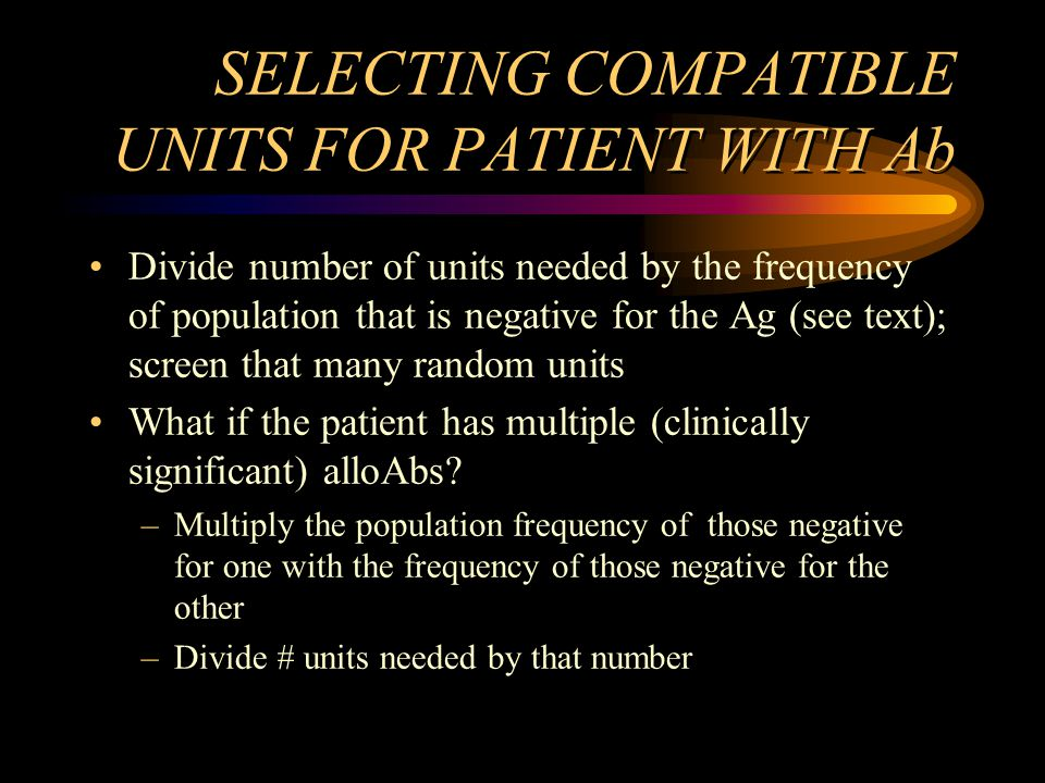 SELECTING COMPATIBLE UNITS FOR PATIENT WITH Ab