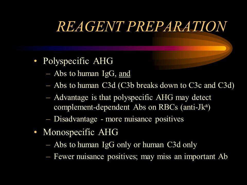 REAGENT PREPARATION Polyspecific AHG Monospecific AHG