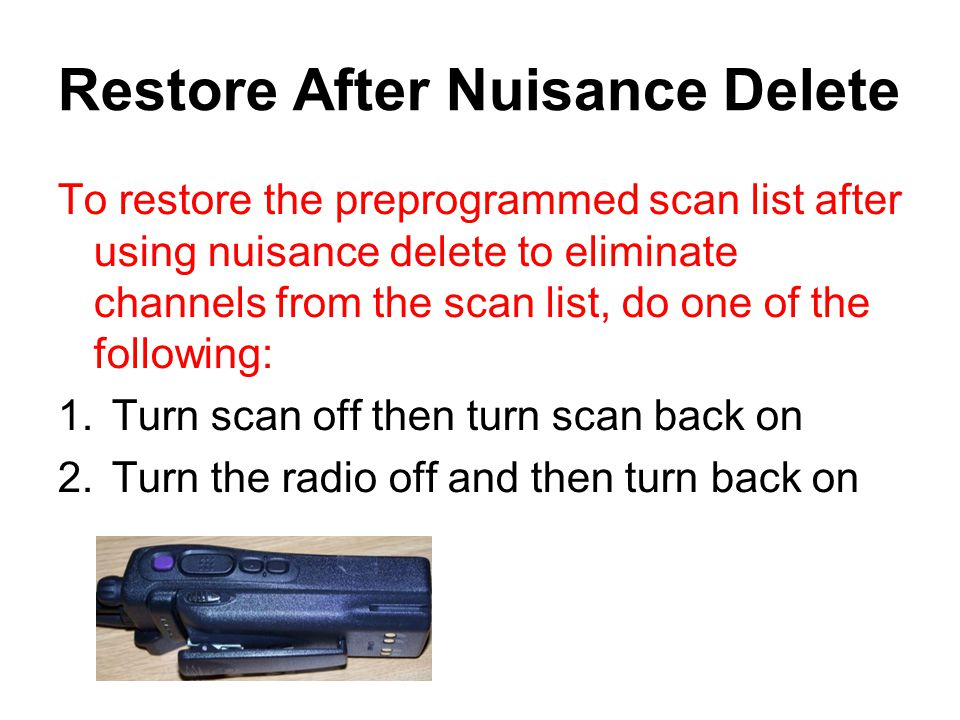 Restore After Nuisance Delete