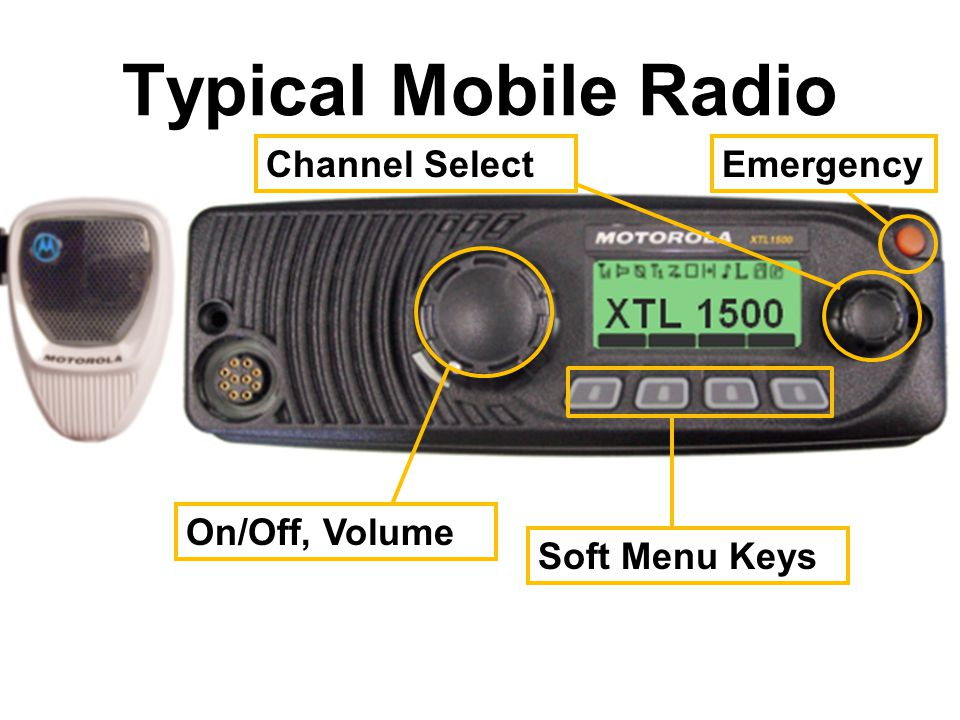 Typical Mobile Radio Channel Select Emergency On/Off, Volume
