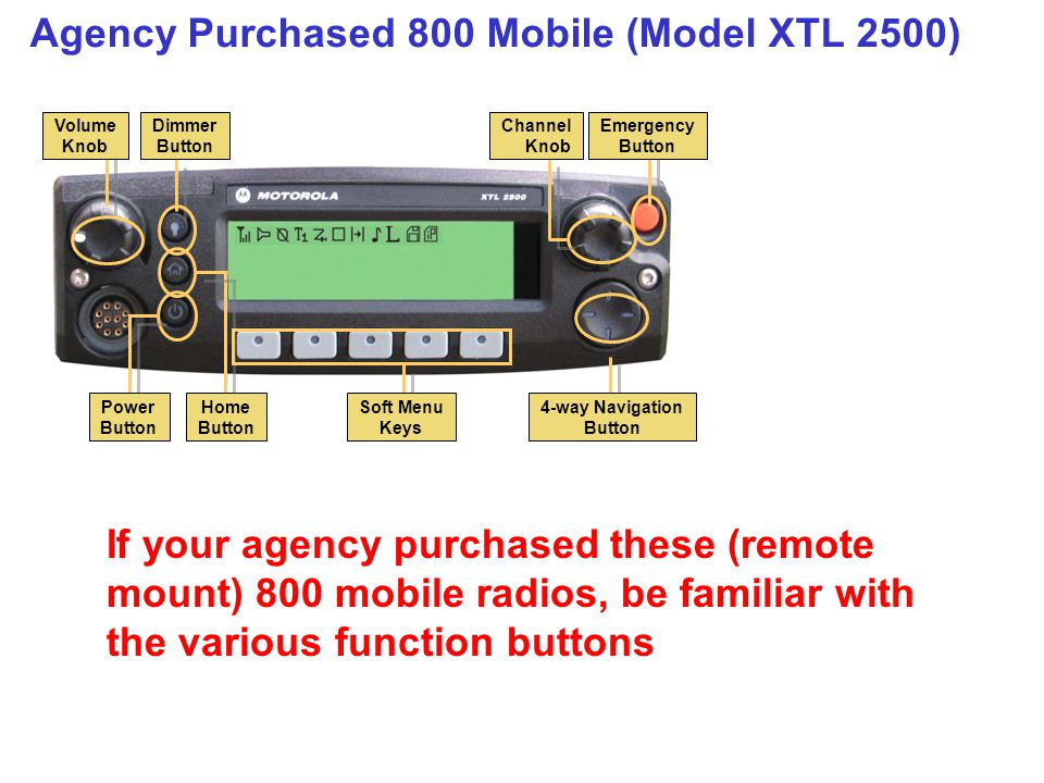 Agency Purchased 800 Mobile (Model XTL 2500)