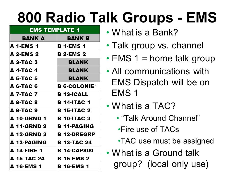 800 Radio Talk Groups - EMS What is a Bank Talk group vs. channel