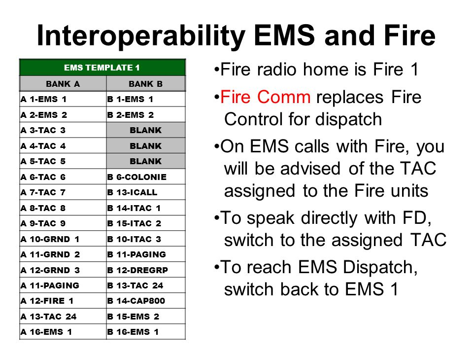 Interoperability EMS and Fire