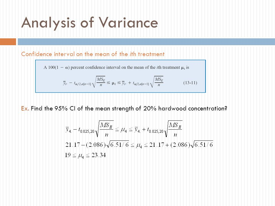 Analysis of Variance Confidence interval on the mean of the ith treatment.