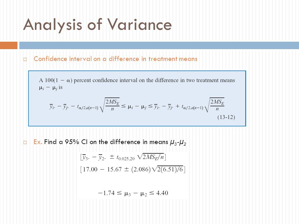 Analysis of Variance Confidence interval on a difference in treatment means.