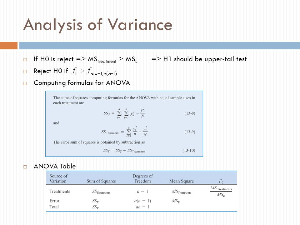 Analysis of Variance If H0 is reject => MStreatment > MSE => H1 should be upper-tail test. Reject H0 if.