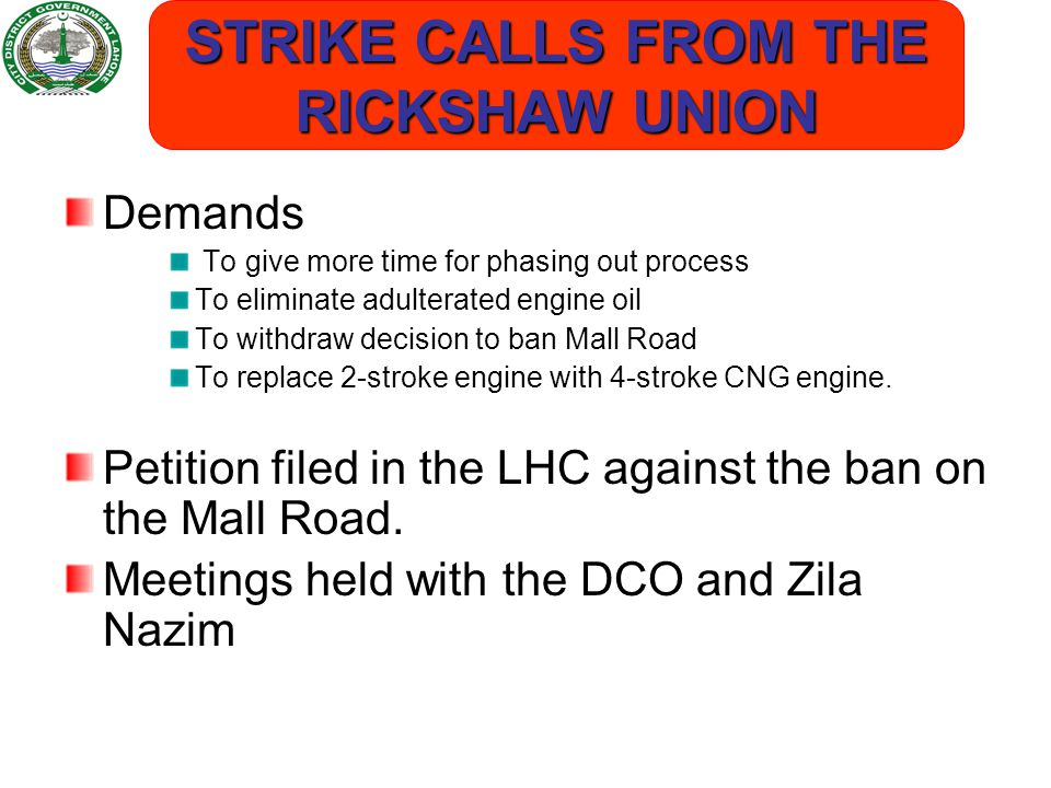 STRIKE CALLS FROM THE RICKSHAW UNION