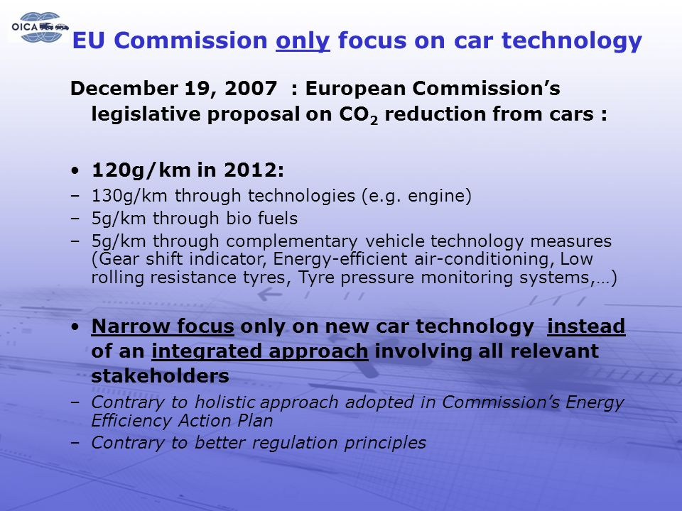 EU Commission only focus on car technology
