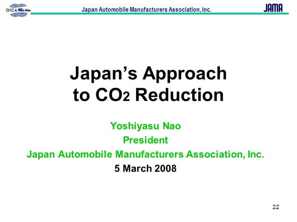 Japan's Approach to CO2 Reduction