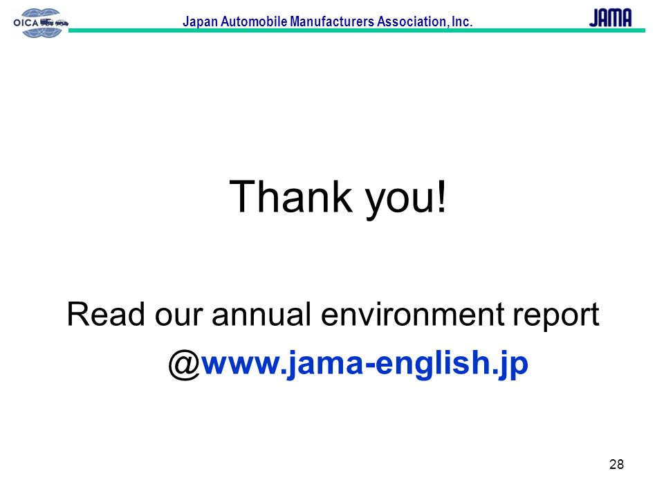 Thank you! Read our annual environment report @www.jama-english.jp