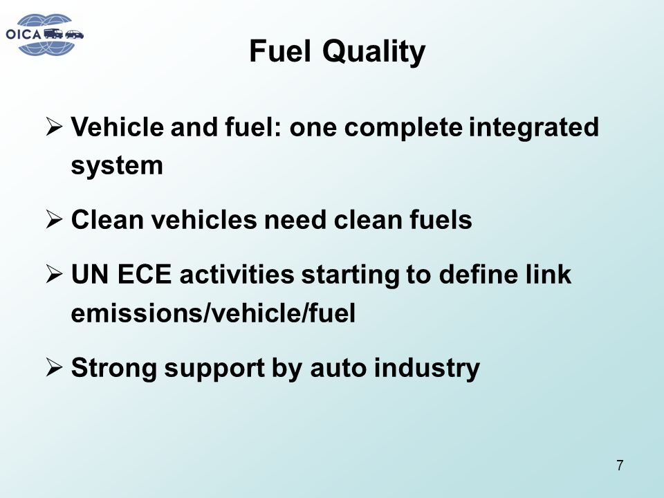 Fuel Quality Vehicle and fuel: one complete integrated system