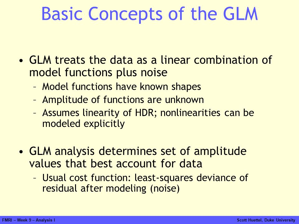 Basic Concepts of the GLM