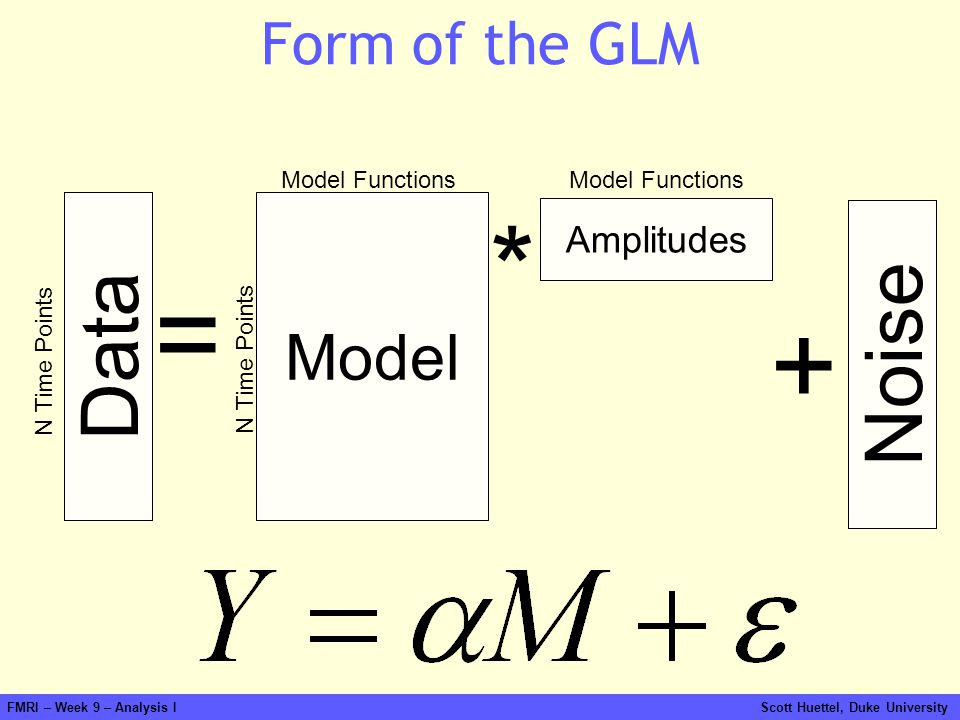 * = + Data Noise Model Form of the GLM Amplitudes Model Functions