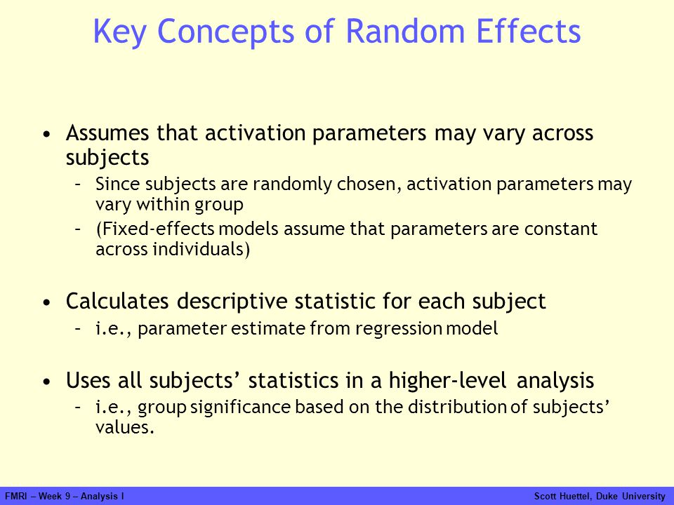 Key Concepts of Random Effects