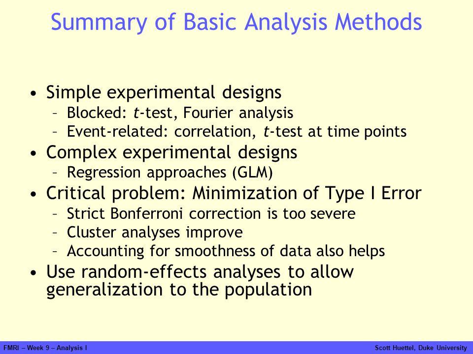 Summary of Basic Analysis Methods
