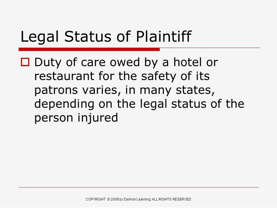 Legal Status of Plaintiff
