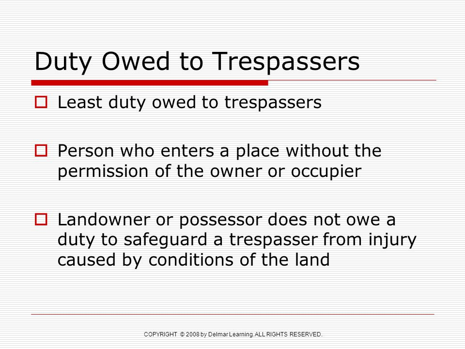 Duty Owed to Trespassers